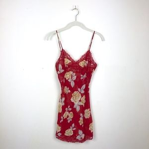 Victoria Secret Floral Lacey Red Slip Night Gown